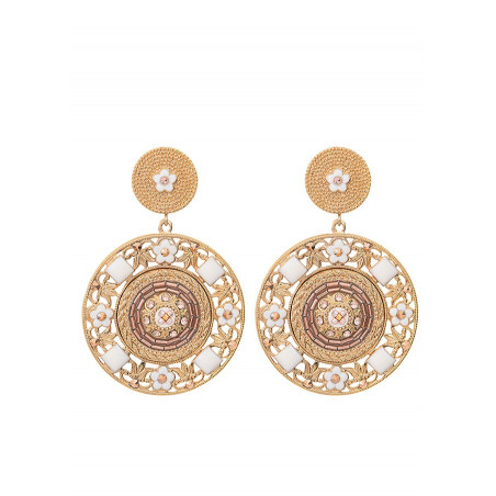 Timeless clip-on earrings with crystals and beads l Pink
