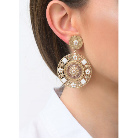 Timeless clip-on earrings with crystals and beads l Pink83547