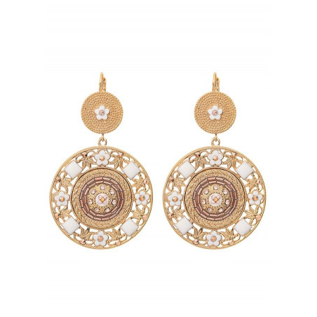 Timeless sleeper earrings with crystal and beads l Pink