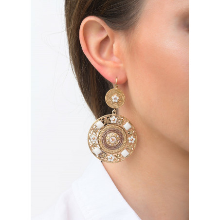 Timeless sleeper earrings with crystal and beads l Pink83557