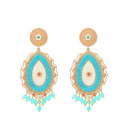 Boucles d'oreilles clips baroques cristaux et amazonite | bleu