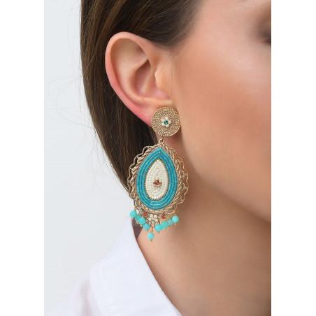 Boucles d'oreilles clips baroques cristaux et amazonite | bleu83562