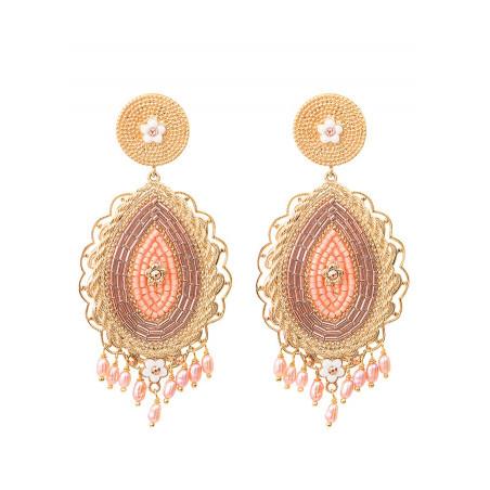 Boucles d'oreilles clips chics perles de rivière et cristaux   rose