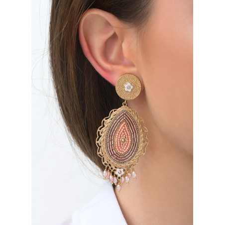 Boucles d'oreilles clips chics perles de rivière et cristaux   rose83567