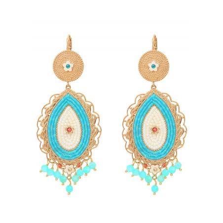 Boucles d'oreilles dormeuses baroques cristaux et amazonite | bleu