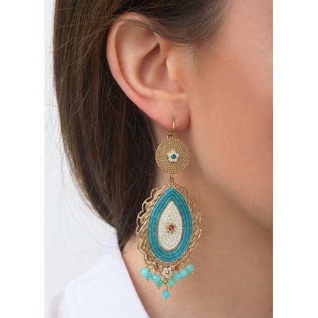 Boucles d'oreilles dormeuses baroques cristaux et amazonite | bleu83572