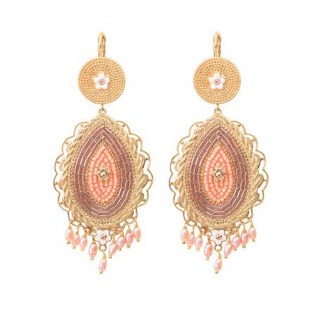Chic freshwater pearls bead crystal sleeper earrings l Pink