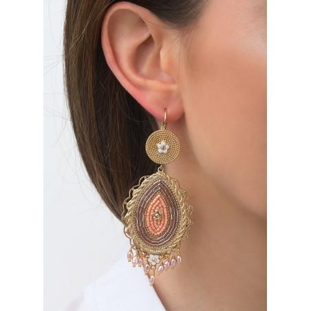 Chic freshwater pearls bead crystal sleeper earrings l Pink83577