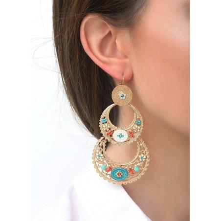 Boucles d'oreilles dormeuses bohèmes amazonite et cristaux | bleu83582