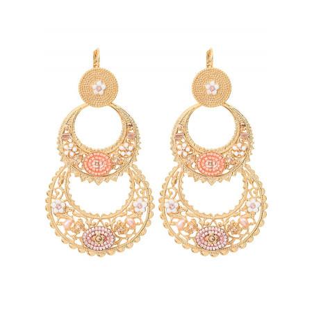 Boucles d'oreilles dormeuses festives perles de rivière et cristal   rose