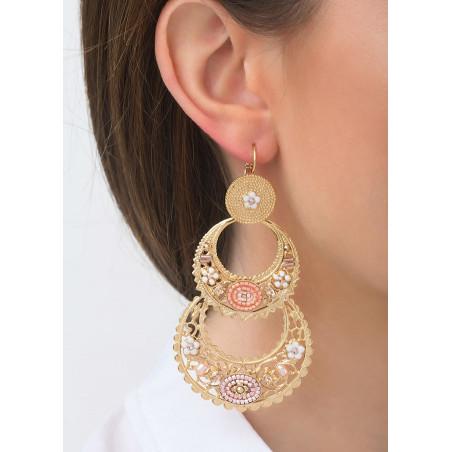 Boucles d'oreilles dormeuses festives perles de rivière et cristal   rose83587