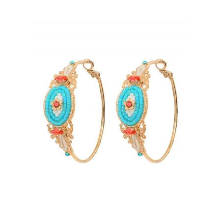 Refined crystal hoop earrings for pierced ears | Blue
