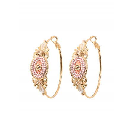 Boucles d'oreilles créoles percées poétiques cristal | rose