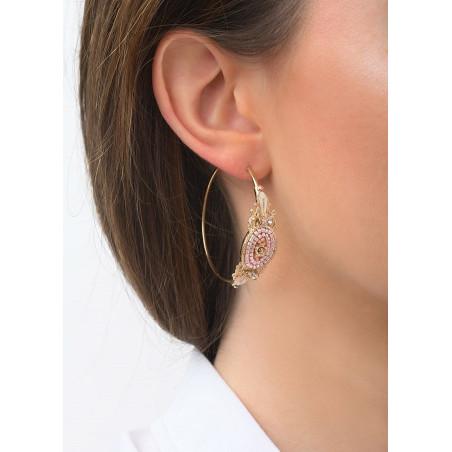 Boucles d'oreilles créoles percées poétiques cristal | rose83597