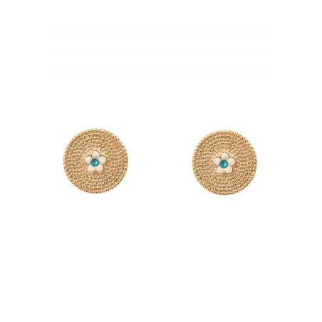 Boucles d'oreilles clips féminines métal et cristal   bleu