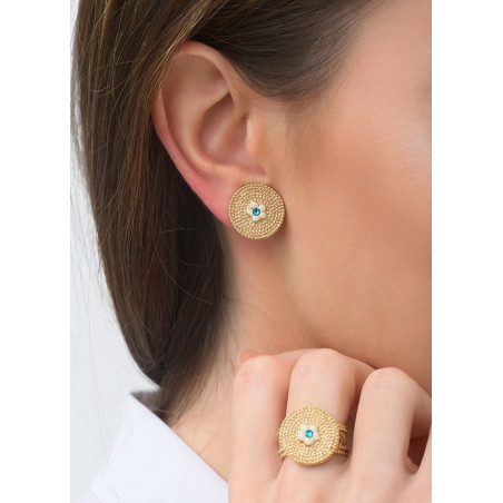 Boucles d'oreilles clips féminines métal et cristal   bleu83602