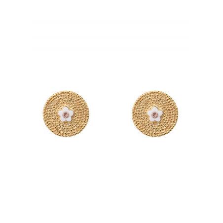 Delicate metal crystal clip-on earrings l Pink