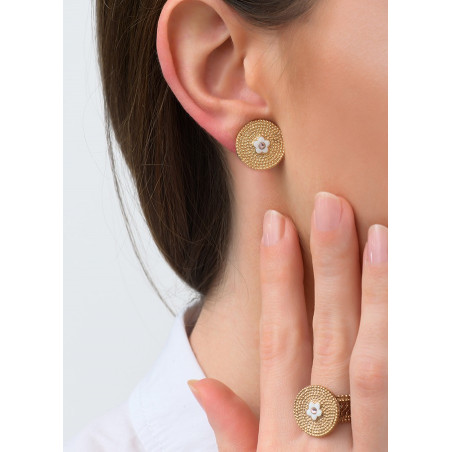 Delicate metal crystal clip-on earrings l Pink83607