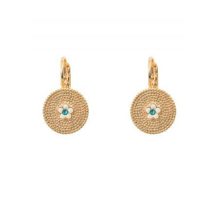 Boucles d'oreilles dormeuses féminines métal et cristal | bleu