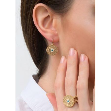 Boucles d'oreilles dormeuses féminines métal et cristal | bleu83612