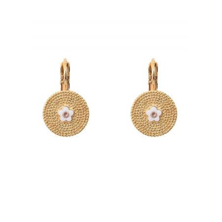 Delicate sleeper earrings with metal crystal l Pink