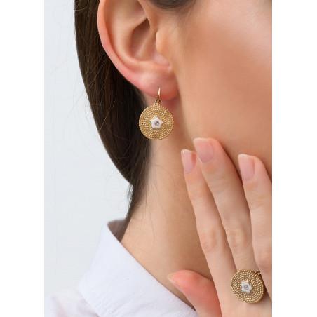 Delicate sleeper earrings with metal crystal l Pink83617