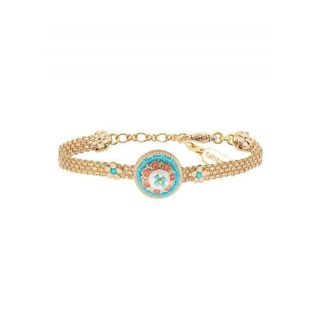 Summery Japanese seed bead crystal flexible bracelet |Blue