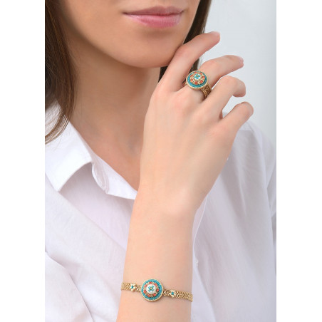 Summery Japanese seed bead crystal flexible bracelet |Blue83622