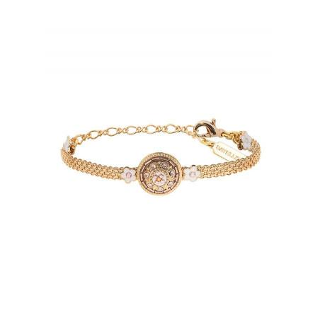 Bracelet souple féminin Perles du Japon et cristaux | rose
