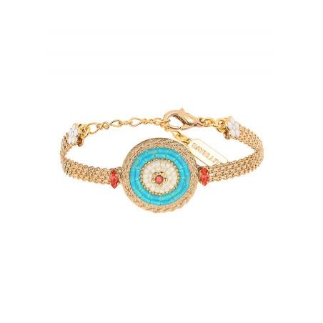 Modern Japanese seed bead crystal flexible bracelet |Blue