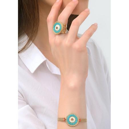 Modern Japanese seed bead crystal flexible bracelet |Blue83642