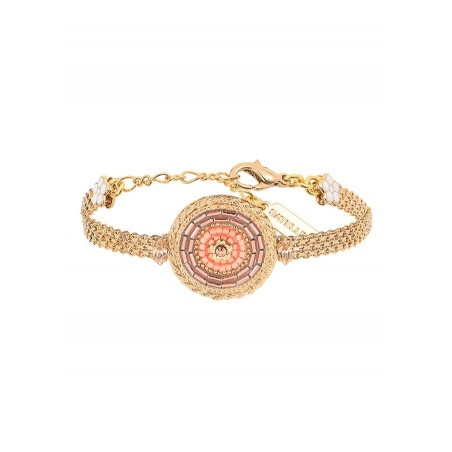 Vintage Japanese seed bead crystal flexible bracelet | Pink