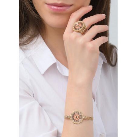 Vintage Japanese seed bead crystal flexible bracelet | Pink83647