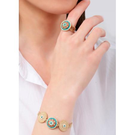 On-trend Japanese seed beads crystal flexible bracelet  Blue83652