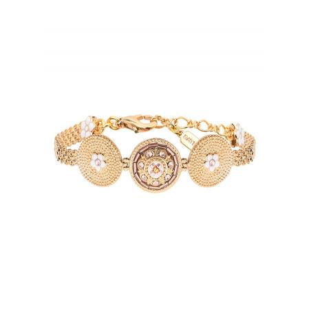 Beautiful Japanese seed bead crystal flexible bracelet   Pink