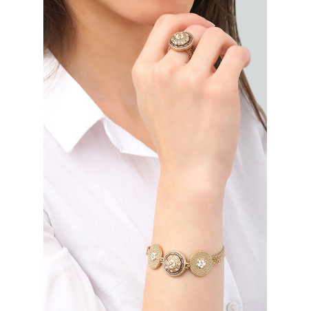 Beautiful Japanese seed bead crystal flexible bracelet   Pink83657
