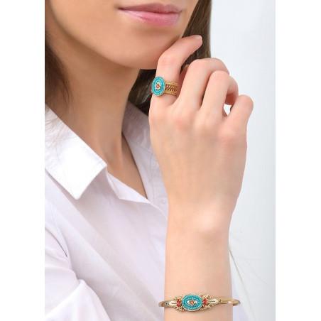 Baroque Japanese seed bead crystal bangle   Blue83662