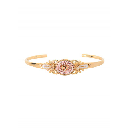 Precious Japanese seed bead crystal bangle   Pink