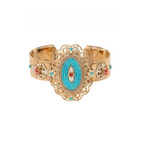 Ethnic chic Japanese bead crystal cuff bracelet | Blue