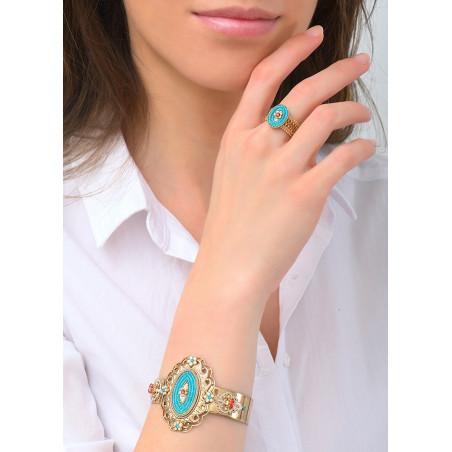 Ethnic chic Japanese bead crystal cuff bracelet | Blue83672