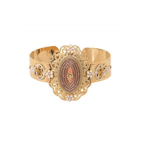 Glamorous Japanese seed bead crystal cuff bracelet l Pink
