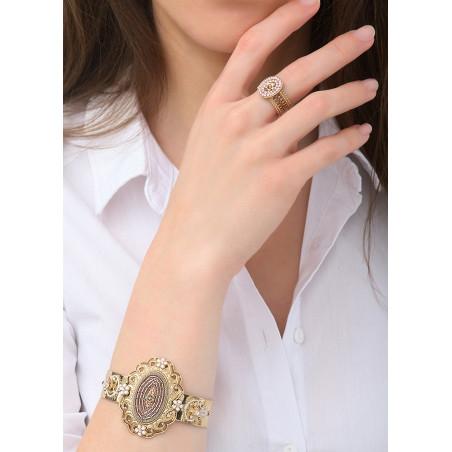 Glamorous Japanese seed bead crystal cuff bracelet l Pink83677