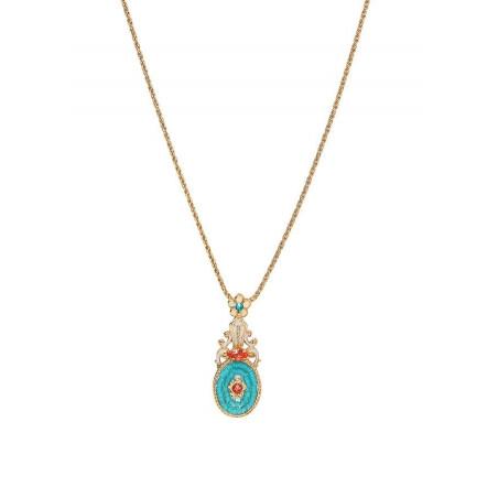 Glamorous Japanese seed bead crystal pendant necklace   Blue