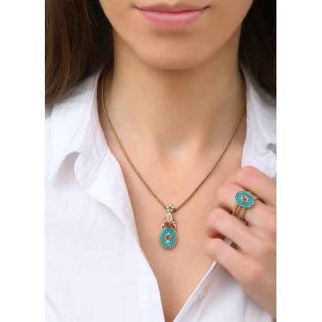 Glamorous Japanese seed bead crystal pendant necklace   Blue83682