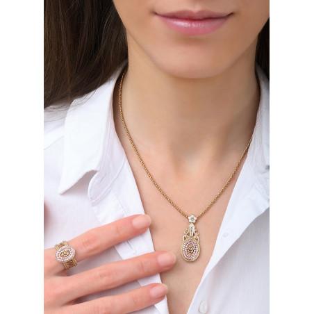 Feminine Japanese seed bead crystal pendant necklace   Pink83687