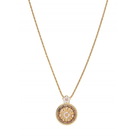Refined Japanese bead crystals pendant necklace | Pink