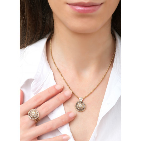 Refined Japanese bead crystals pendant necklace | Pink83697