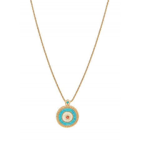 Radiant Japanese bead crystals pendant necklace | Blue