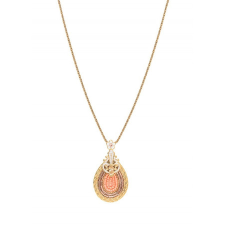 Timeless Japanese seed bead crystal pendant necklace | Pink