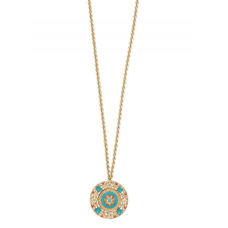 Beautiful Japanese seed beads crystal sautoir necklace | Blue